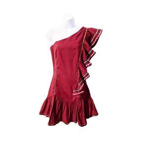 LoveShackFancy Veronica Cayenne One Shoulder Dress